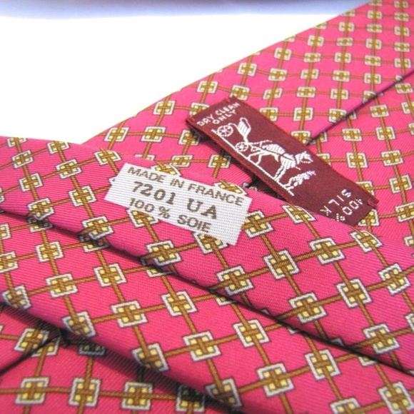 Hermes Other - HERMES PARIS Tie 7201 UA Melon Salmon Pink Stripe